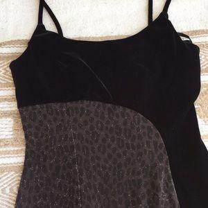 Velvet Black and Leopard Dress